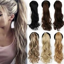 """Ponytail Hair Extension Clip In Long Wavy Wrap Around Heat Resistant 22"""""""