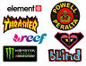 7 pegatinas Skate, Snow, Surf - Thrasher, Monster, Element, Roxy, Blind, Reef.+