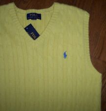 NWT Polo Ralph Lauren SOFT YELLOW Cable Sweater Vest Boy XL 18/20 Blue Pony Xmas