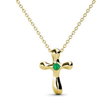 """Petite Emerald Solitaire Cross Pendant in 14K Yellow Gold with 18""""Chain JP:25066"""