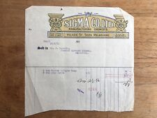 1913 SIGMA CO. LTD MANUFACTURING CHEMISTS WALKER ST STH MELBOURNE RECEIPT F113