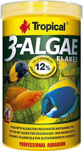 Tropical 3-Algae Flakes 1000 ML Mangime per Pesci Spirulina Cichliden Fiocchi