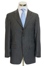 Maco Suit: 38R Grey with slate/white stripes, 3-button, 100's wool
