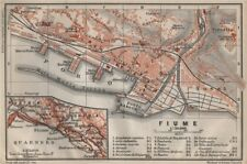 RIJEKA antique town city plan grada. Fiume Reka Pflaum. Croatia karta 1905 map
