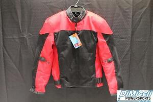 NEW LARGE LRG L RED POLYESTER MESH ARMOR MOTORCYCLE JACKET* JACKET RUN SMALL