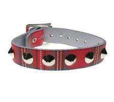 Pulsera cuero punk Tartan 1 row conical stud leather wristband Bullet69 WB511