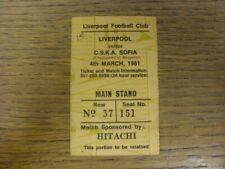 More details for 04/03/1981 ticket: liverpool v cska sofia [european cup] liverpool's european cu
