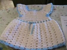 WHITE SHELLS with BLUE TRIMS CROCHET BABY DRESS 6-12 mos blue FLOWER buttons