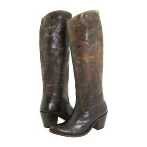 Frye Western Boots Size 5.5 M Sandra Riding Dark Brown Distressed Leather $538