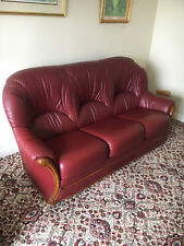 Red Leather Three Piece Suite with Foot Stool