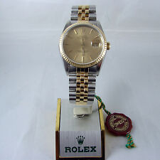 Rolex 16233 Datejust Two Tone 18k Gold & Stainless Steel Mens Watch