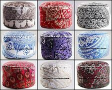 5 PC Wholesale Lot Indian Ottoman Pouffe Poof Round Foot Stool Floor Pillow 24""
