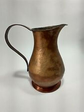 """Antique Vintage Hammered Copper Pitcher Water Carrier Jug Patina 6 1/2"""" Tall"""