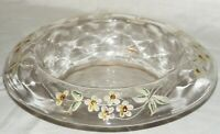 Antique Clear Blown Glass Rolled Edge Console Bowl Hand Painted White Flowers