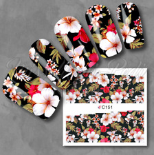 Full Nail Water Decals, Nail Stickers, Wraps, Transfers, Tropical Flowers Z151