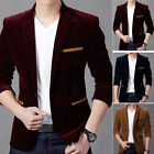 Formal Mens Casual Slim Fit One Button Corduroy Suit Blazer Coat Jacket Tops New