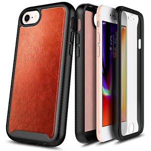 For iPhone 8 7 6s 6 Leather Case Full Body Cover With Built-In Screen Protector