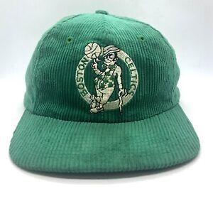 Vintage Green Boston Celtics NBA Basketball Corduroy Snapback Hat 1980s