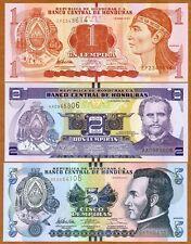 SET, Honduras, 1;2;5 Lempiras, 2012, P-96-97-98, UNC