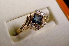 BEAUTIFUL LADIES YELLOW GOLD DIAMOND AND SAPPHIRE RING