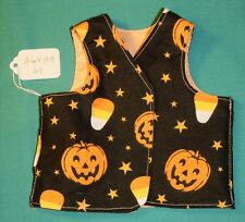 Halloween Pumpkin & Peach Cotton Reversible Vest for American Girl Doll AGVHH61