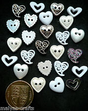 WEDDING and VALENTINE HEARTS Craft Buttons 1ST CLASS POST White Love DRESS IT UP
