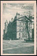 HALIFAX NS CANADA Post Office & Customs House Vtg Town View Postcard Old B&W PC