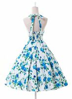 New Ladies VTG 1940's 50's style Cherry Floral Polka Dot Tea Party Swing Dress