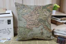 Vintage Cotton Linen Cushion Cover Home Decor Ancient Europe Map