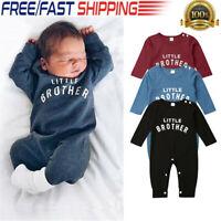 Newborn Infant Baby Boy Little Brother Romper Jumpsuit Bodysuit Clothes Outfit