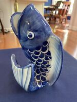 "Vintage Chinese Blue and White Porcelain Fish Decorative Vase 8.5"", Very Nice"
