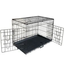 Metal Collapsible Pet Dog Cage Cat Puppy Portable Crate House Tray M 30""