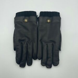 Gucci Men's Black Lambskin Leather Gloves Wool Trim And Tiger Logo 9.5/M 524047