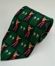 Rooster Golf Theme Mens Tie 100% Silk Navy Blue Green Clubs Ball Tees Novelty