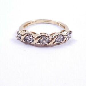 Diamond Ring 9 carat gold Eternity Size L1/2 0.10 carats