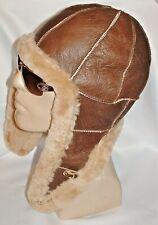 NEW Handmade mens Sheepskin Bomber Aviator Pilot Fur Hat Real Leather size XXL