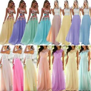 Womens Lace Evening Dress Prom Wedding Bridesmaid Party Holiday Maxi Dresses UK