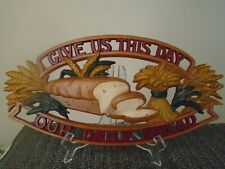 Give Us This Day Our Daily Bread Vintage Sexton Cast Plaque Wall Hanging