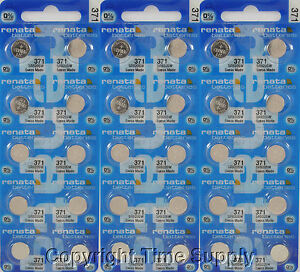 30 pcs 371 Renata Watch Batteries SR920SW FREE SHIP 0% MERCURY