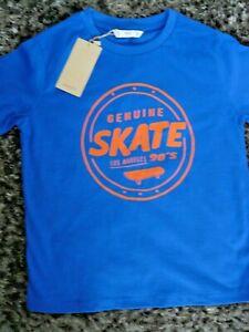 Mango Kids. Boys Skate LA, T Shirt Blue 100% Cotton Age 7-8 BNWT
