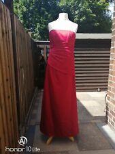 FOREVER YOURS RED DIAMANTE SEQUIN TRIM STRAPLESS FORMAL FULL LENGTH DRESS UK 14