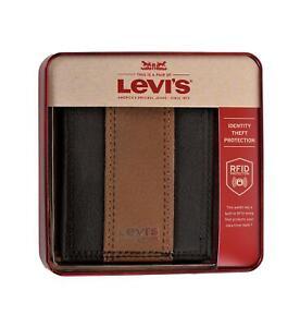Levi's Men's RFID-Blocking Extra Capacity Traveler Bifold Wallet Brown