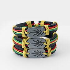 5x Rasta Wax Cord Bracelet Marijuana Weed Leaf Charm Wrap Leather Wristband Surf