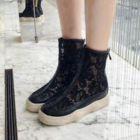 Size Plus Women's Platform Lace High Top Hollow Sandal Boots Zip Casual Shoes