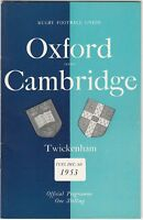 Oxford v Cambridge 1953 (8 Dec) Rugby Union Varsity Match Programme