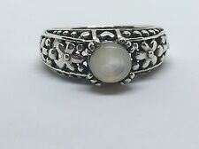Sterling Silver Floral Ring Size 8.5 Vintage Mother of Pearl Solitaire 925