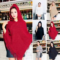 Women Cloak Hood Sweaters Knit Batwing Top Poncho Cape Coat Loose Tassel Outwear