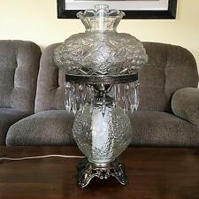 "Vintage 24"" Clear Glass Hurricane Gone with The Wind Lamp With Hanging Prisms"