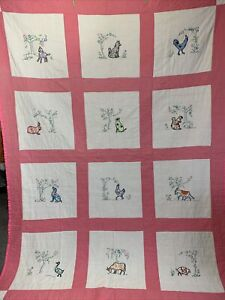 """Vintage Feed Sack Farm Animals Quilt Hand Appliqued & Stitched 64"""" x 88"""" Queen"""