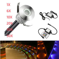 1/6/10/20/30/50X 22mm 12V RGB LED Deck Lights Outdoor Yard Patio Stair Step Lamp
